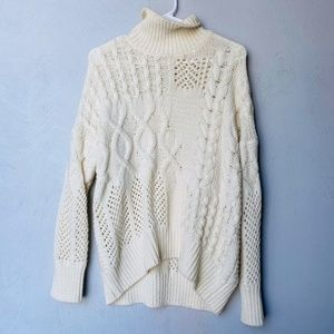 Athleta Cream Cable Knit Cashmere Sweater